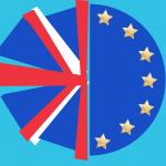 UK flag mixed with EU flag illustration