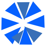 Blue triangles forming a Saltire flag.