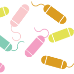 Graphic of multicolored tampons.