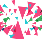 Lots of multisized triangles in pink, blue and green designed to look like they are shattering.