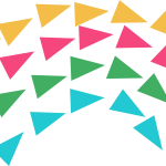 Yellow, pink, green and blue triangles formatted into a rainbow shape.