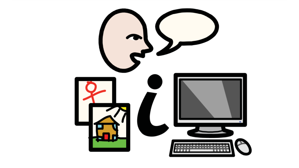 "A face with a speech bubble, some children's drawings, a letter ""i"" symbolising information and a computer."