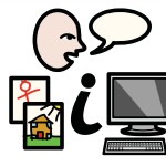 """A face with a speech bubble, some children's drawings, a letter """"i"""" symbolising information and a computer."""