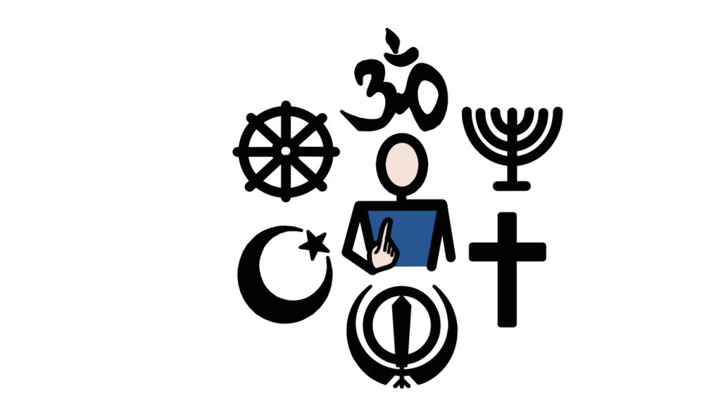 A person pointing to themselves while surrounded by the symbols of several different religions.