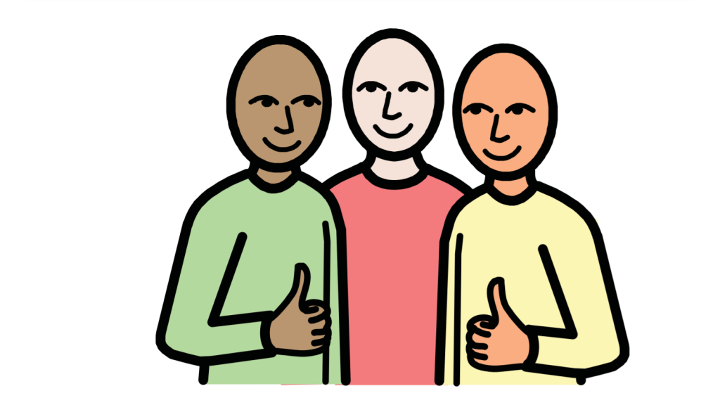 Three people smiling together. Two are giving a thumbs up.