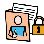 A folder with files inside and with an image of a person pointing to themselves on it. A closed padlock is beside the folder.