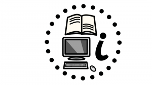 "A book, computer and letter ""i"" symbolising information all surrounded by a circle of black dots."