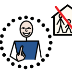A person smiles while pointing to themselves in a circle of black dots. Beside them is a family with a child in a house, which has a big red line drawn through it.