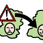 Someone with a sad face on one island and a happy face on another, with a big arrow between them. There is a hazard sign with an exclamation mark on the first island.