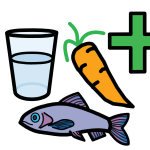 A carrot, a fish, a glass of water and a first aid symbol.