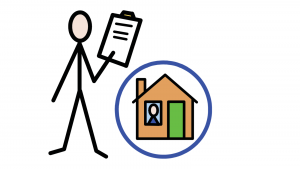 A person with a list on a clipboard beside a house with a circle drawn round it where a person looks out of a window.