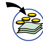 A circle containing banknotes and coins, with an arrow going from outside the circle to in it.