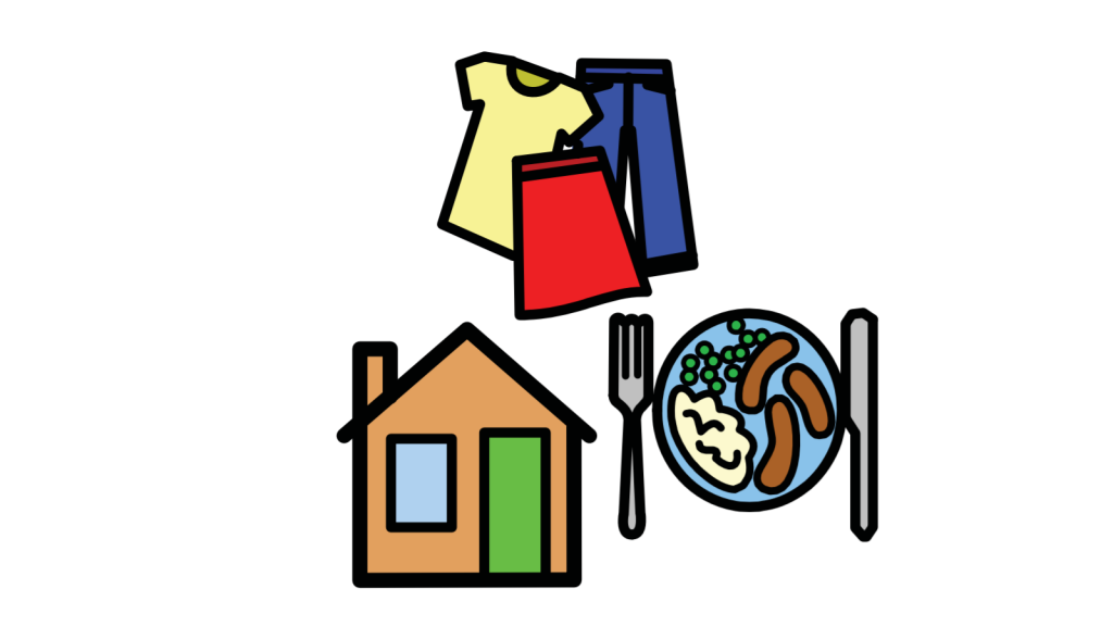 Clothes, a plate of food and a house.