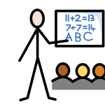 A person beside a whiteboard with sums and letters on it, which a group of people are all looking at.