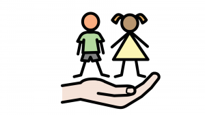 An image of a boy and a girl above a cupped hand that looks as if it is holding them.