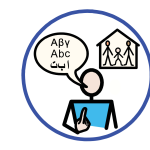A person points to themselves and has a speech bubble with A, B and C in three different alphabets. Behind them is a house with a family in it.