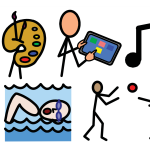 Paintbrushes in a paint palette, a person using a tablet, a musical note, a swimmer, and people playing catch.