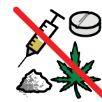 A white powder, a cannabis leaf, a syringe and a pill, all struck through with a big red line.