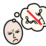 A frowning person thinking of someone standing over another in a threatening way. The image in the thought bubble has a red line struck through it.