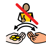 A child points to themselves as two hands exchange coins. The child has a red line struck through them.