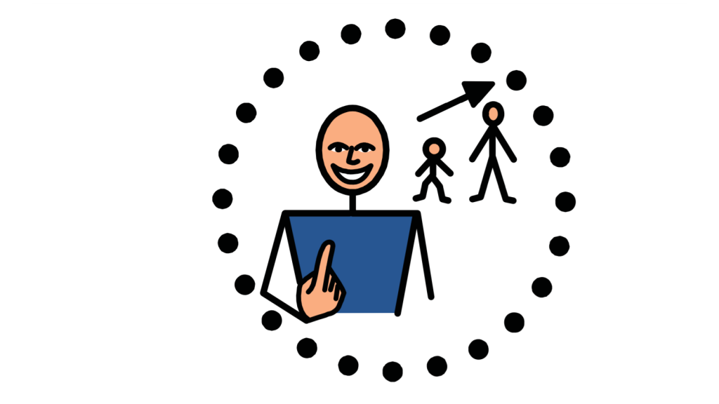 A smiling person with a depiction of them growing from child to adult around them, all surrounded by a circle of black dots.