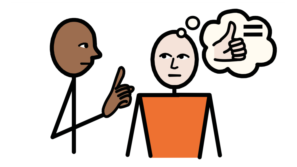 Someone has their hand up beside someone else, who is thinking of a thumbs up and an equals sign.
