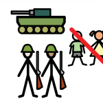 A tank and soldiers holding guns beside two children with a big red line struck through them.