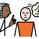 A judge holds up their finger as a person beside them thinks of a thumbs up and an equals sign.
