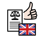 A piece of paper with a weighing scales drawn on it, a thumbs up and the UK flag.