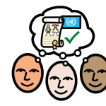 Three people all thinking of a scroll with a medal and children drawn on it alongside the UN flag.
