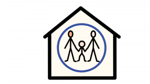 A child and their family circled within a house.