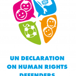 Cover of our easy to understand version of the UN Declaration on Human Rights Defenders.