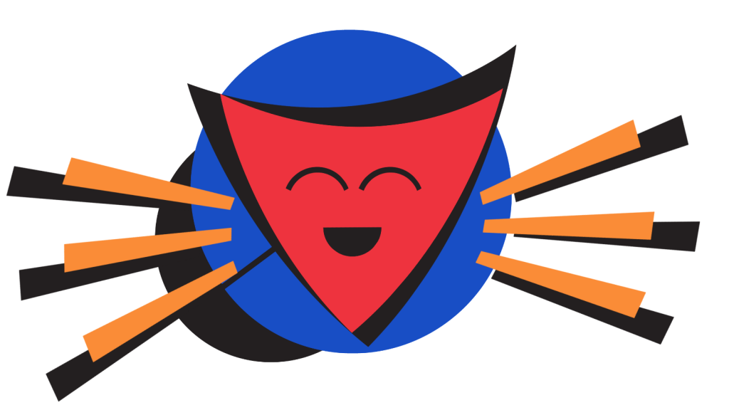 A stylised image of a smiling shield on a sun-like background.