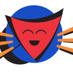 A stylised cartoon of a smiling shield on a sun-like background.