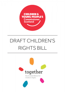 Cover for the Draft Children's Rights Bill created by the Commissioner and Together Scotland..