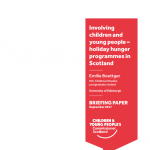 The cover of our briefing on child involvement in the creation of holiday hunger programmes.