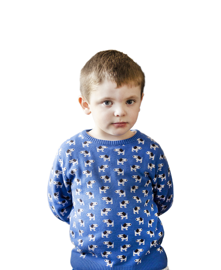 A small boy in a jumper.