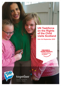 The cover of a report on the UN Taskforce on the Rights of the Child visiting Scotland.