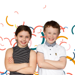 Two children with colourful curved lines behind them