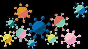 A stylised illustration of coronavirus.