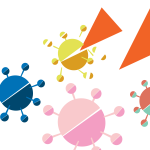 An abstract illustration depicting combating Coronavirus: big orange triangles breaking apart viruses made out of semicircles.