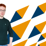 Young person with colourful triangular design behind him.
