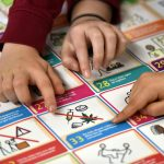 Children's fingers pointing towards our Gaelic UNCRC Symbols poster on the ground