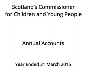 Cover for Commissioner's Annual Accounts for year ended 31 March 2015.