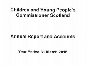 Cover for Commissioner's Annual Report and Accounts for year ended 31 March 2016.