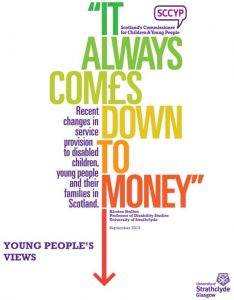 """Cover for """"It always comes down to money: young peoples views"""""""