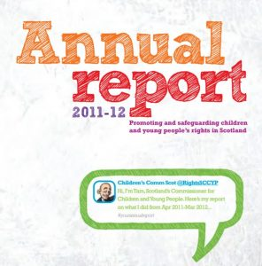 Cover for the Commissioner's young people's annual report for 2011/12.