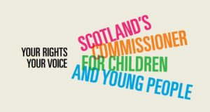 """The phrase """"Your rights, your voice"""" in black beside the text """"Scotland's Commissioner for Children and Young People"""" fanned out in bold and bright colours."""