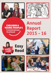 Cover for Commissioner's Easy Read Annual Report for 2015-16.