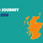 Graphic reading 'our journey 2017-18' with a orange filled in outline of Scotland